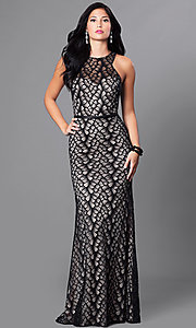 Image of high-neck lace formal long dress with racerback. Style: CD-GL-G661 Front Image