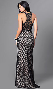 Image of high-neck lace formal long dress with racerback. Style: CD-GL-G661 Back Image