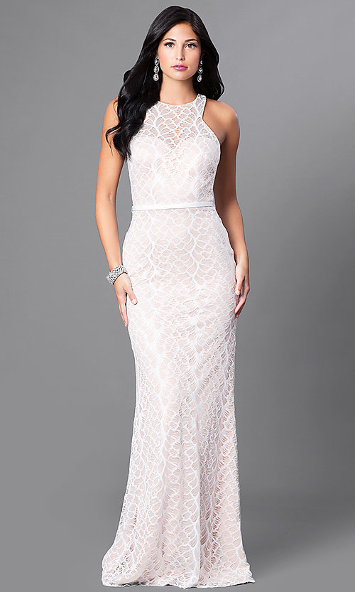 Image of high-neck lace formal long dress with racerback. Style: CD-GL-G661 Detail Image 1