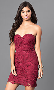 Image of strapless burgundy red short lace homecoming dress. Style: AS-i546956t5 Front Image