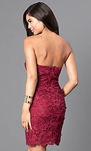 Image of strapless burgundy red short lace homecoming dress. Style: AS-i546956t5 Back Image