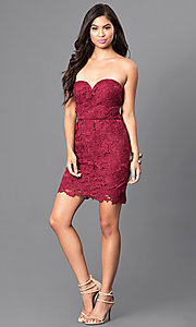 Image of strapless burgundy red short lace homecoming dress. Style: AS-i546956t5 Detail Image 1