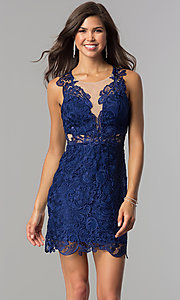 Image of short lace homecoming party dress in royal blue. Style: DMO-J314816 Front Image
