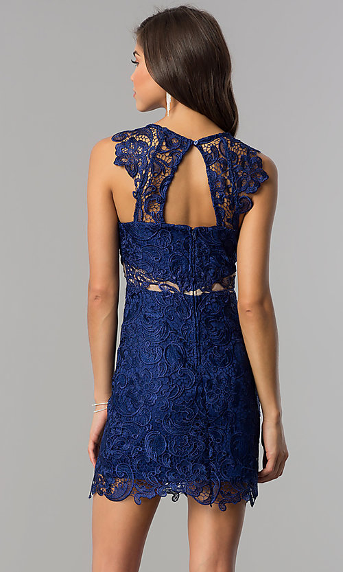 Image of short lace homecoming party dress in royal blue. Style: DMO-J314816 Back Image