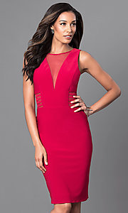 Image of illusion v-neck knee-length semi-formal party dress. Style: MO-12272 Detail Image 1