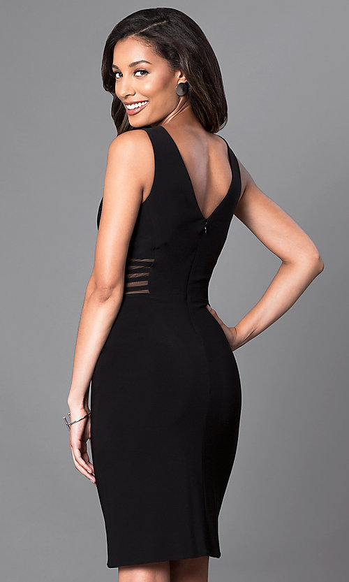 Image of illusion v-neck knee-length semi-formal party dress. Style: MO-12272 Back Image