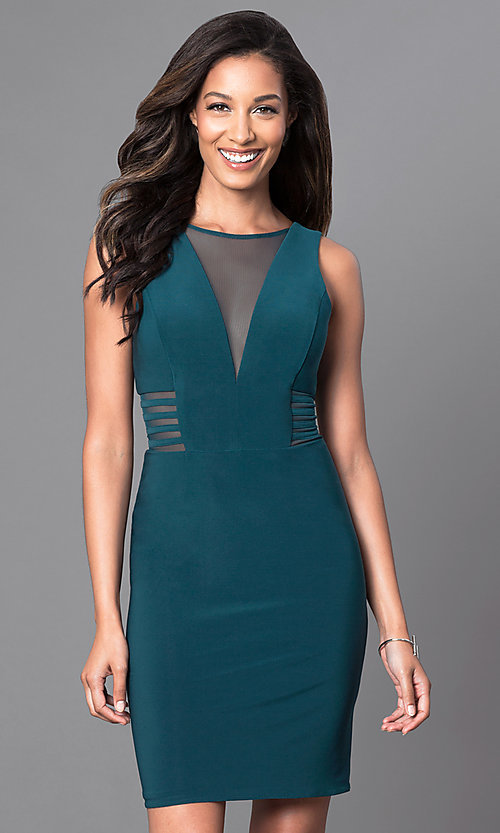 Image of illusion v-neck knee-length semi-formal party dress. Style: MO-12272 Front Image