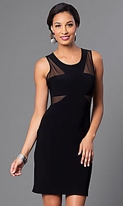 Image of short black cocktail party dress with sheer panels. Style: MO-12232 Front Image