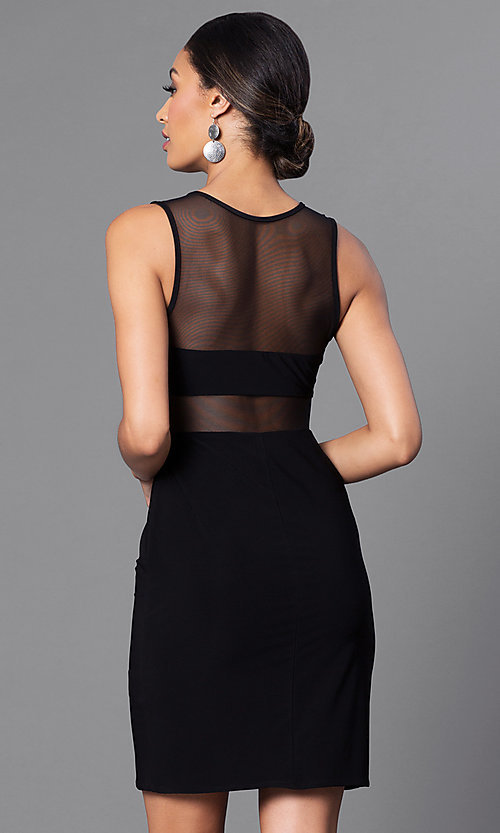 Image of short black cocktail party dress with sheer panels. Style: MO-12232 Back Image
