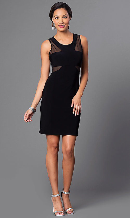 Image of short black cocktail party dress with sheer panels. Style: MO-12232 Detail Image 1