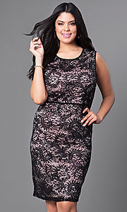 Image of plus-size lace knee-length Morgan cocktail dress. Style: MO-21456W Detail Image 2