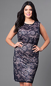 Image of plus-size lace knee-length Morgan cocktail dress. Style: MO-21456W Front Image