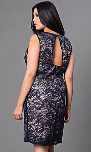 Image of plus-size lace knee-length Morgan cocktail dress. Style: MO-21456W Back Image