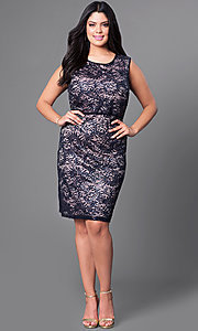 Image of plus-size lace knee-length Morgan cocktail dress. Style: MO-21456W Detail Image 1
