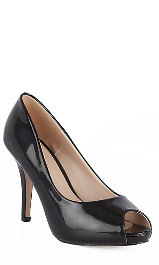 Peep Toe Black Prom Shoes by Your Party Shoes
