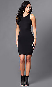 Image of short little black party dress with back cut outs. Style: AC-DX22076B Detail Image 1
