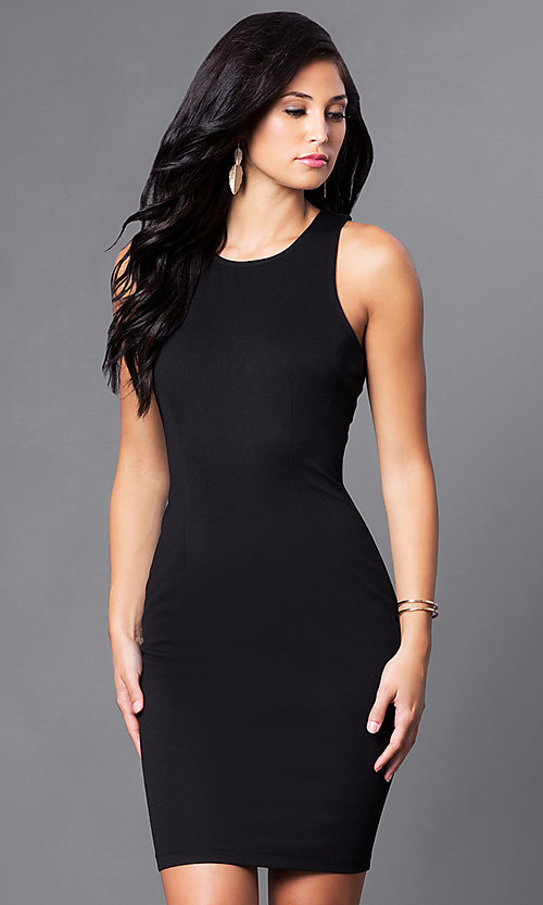 Image of short little black party dress with back cut outs. Style: AC-DX22076B Back Image