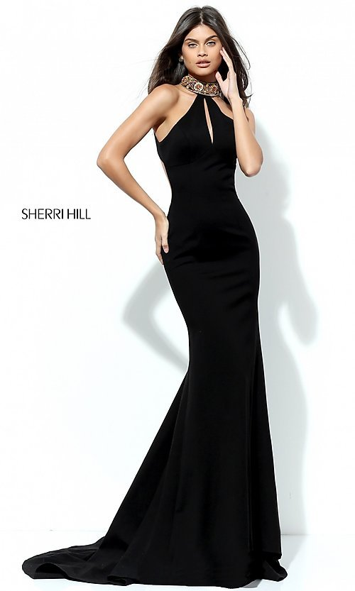Image of long Sherri Hill prom dress with beaded collar. Style: SH-50594 Back Image