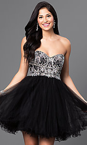Image of short babydoll homecoming dress with corset back.  Style: DQ-9536 Front Image