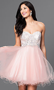 Image of short babydoll homecoming dress with corset back.  Style: DQ-9536 Detail Image 1