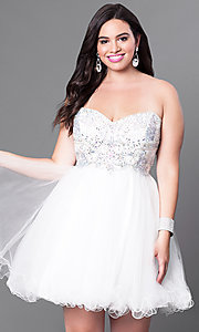 Image of short babydoll homecoming dress with corset back.  Style: DQ-9536 Detail Image 3