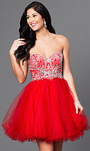 Image of short babydoll homecoming dress with corset back.  Style: DQ-9536 Detail Image 2