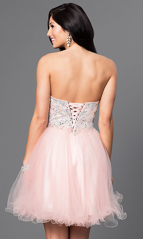 Image of short babydoll homecoming dress with corset back.  Style: DQ-9536 Back Image