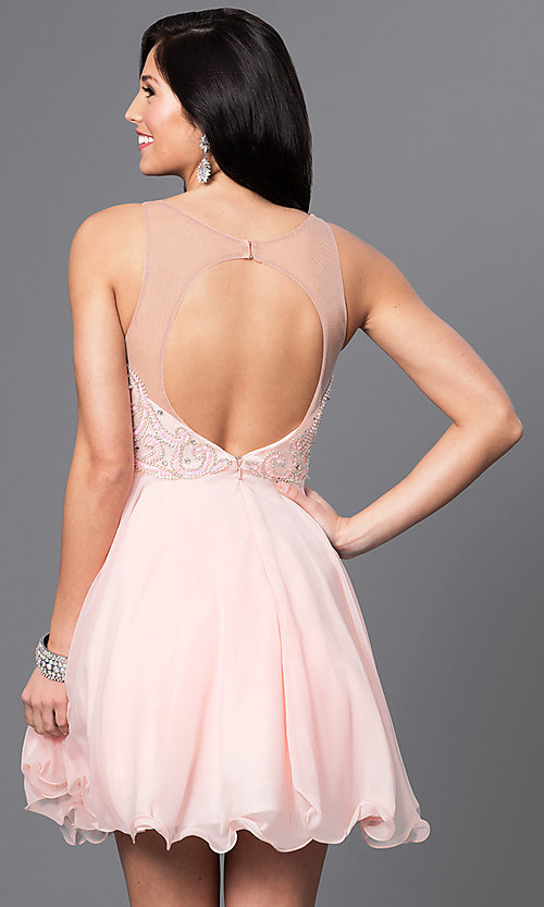 Image of beaded-bodice short chiffon homecoming party dress. Style: DQ-9544 Back Image