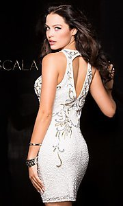 Image of short sequined holiday party dress with high neck. Style: Scala-48638 Back Image