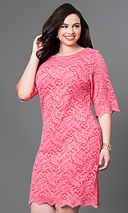 Image of half-sleeve plus-size knee-length lace party dress. Style: SF-8795P Front Image
