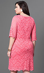 Image of half-sleeve plus-size knee-length lace party dress. Style: SF-8795P Back Image