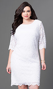 Image of half-sleeve plus-size knee-length lace party dress. Style: SF-8795P Detail Image 1