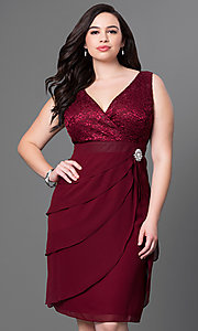 Image of short burgundy plus-size party dress with bolero.  Style: SF-8723Pb Front Image