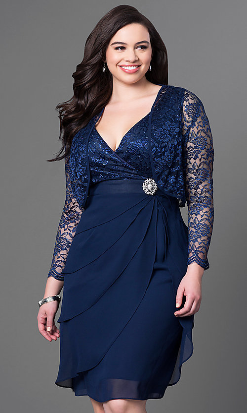 Image of short burgundy plus-size party dress with bolero.  Style: SF-8723Pb Detail Image 1