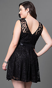 Image of short floral-lace plus-size party dress with bow. Style: SF-8760P Back Image