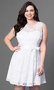 Image of short floral-lace plus-size party dress with bow. Style: SF-8760P Front Image