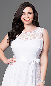 Image of short floral-lace plus-size party dress with bow. Style: SF-8760P Detail Image 1