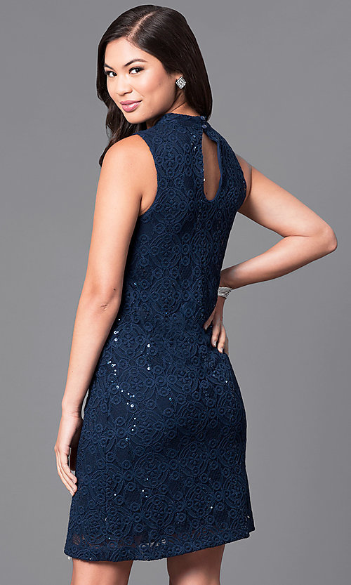 Image of navy blue embroidered-lace sequined party dress. Style: JU-TI-88904 Back Image