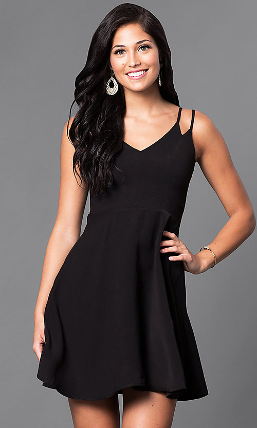 Image of a-line v-neck short double strap casual dress. Style: VJ-VD31512 Front Image