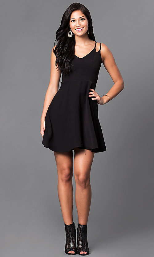 Image of a-line v-neck short double strap casual dress. Style: VJ-VD31512 Detail Image 1