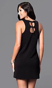 Image of casual sleeveless short shift dress with cut outs. Style: VJ-VD31612 Back Image