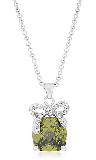 Green Cubic Zirconia Necklace by Le Chic