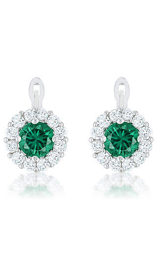 Round Emerald Green Earrings by Le Chic