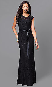 Image of long lace bridesmaid dress with sequin accents. Style: SF-8834 Detail Image 1