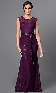 Image of long lace bridesmaid dress with sequin accents. Style: SF-8834 Front Image