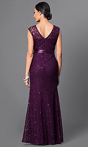 Image of long lace bridesmaid dress with sequin accents. Style: SF-8834 Back Image