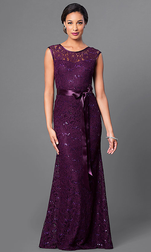Image Of Long Lace Bridesmaid Dress With Sequin Accents Style Sf 8834 Front