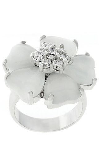 Silver and White Ring by Le Chic