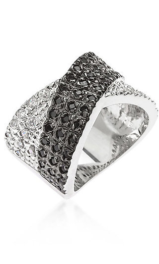 Silver and Black Ring by Le Chic