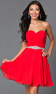 Image of corset-back short chiffon strapless party dress. Style: DQ-9115-v Detail Image 1